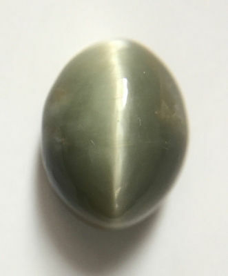 7.49 ct Natural Quartz Cats Eye Greyish Green Excellent Silver Ray Oval Shaped