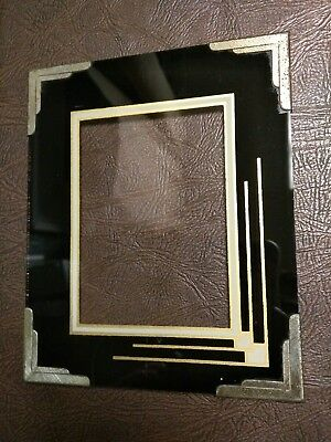 Antique Art Deco Reverse Painted Glass Picture Frame Brass
