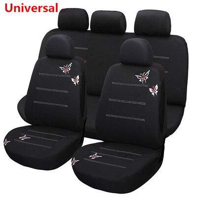 11 Pcs Butterfly Embroidery Car Seat Cover Full Set For Car Interior Accessories