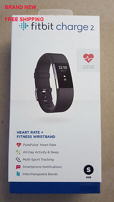 NEW Fitbit Charge 2 Heart Rate Activity Tracker Sleep Fitness BLACK Small Size