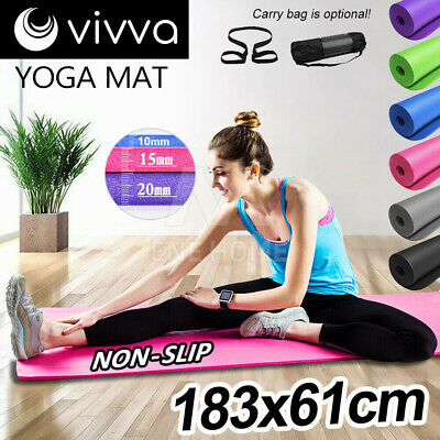 10/15/20mm Yoga Mat Pad NBR Thick Fitness Gym Pilate Exercise BONUS CARRYBAG