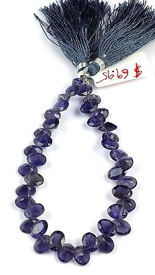"1 Strand Natural Iolite Side Drilled Faceted Oval Shape 6x8mm Briolette 8"" Long"