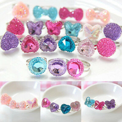 5pcs Butterfly Bright Drill Children Girls Baby Rings Jewelry Gift Crystal Heart