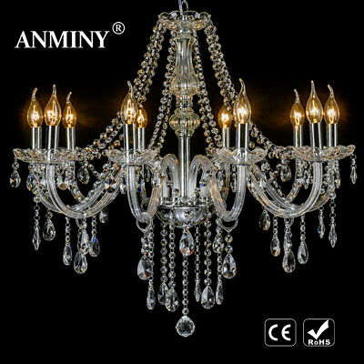 Clear Crystal Chandelier Ceiling Light Droplets Pendant Lamp 6, 8, 10 Arm Light