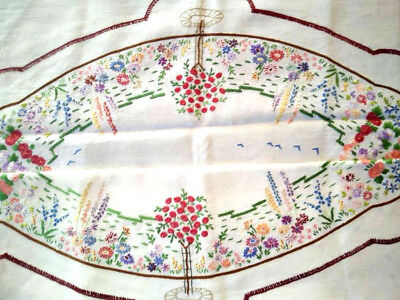 Glorious Standard Rose/Cottage Gardens   ~ Vintage Hand Embroidered Tablecloth