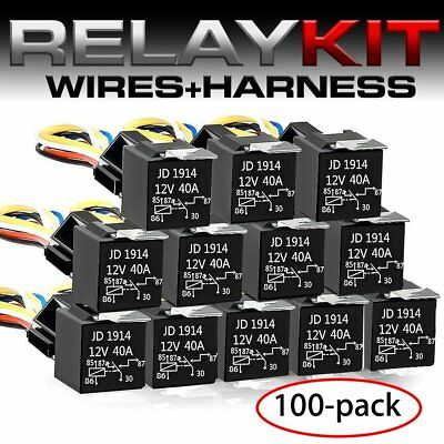 New 100X12V Car SPDT Automotive Relay 5 Pin 5 Wires w/Harness Socket 30/40 Amp K