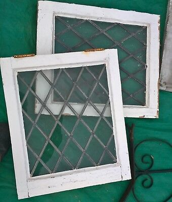 Vintage Wooden Windows Leaded Diamond Pair