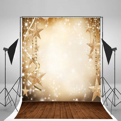 Christmas Stars Romantic Vinyl Photography Background Backdrop Studio Props 3x5