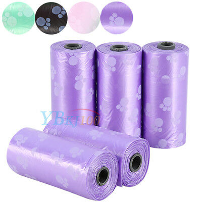 5Rolls Pet Waste Bag Dog Poop Pick Up Bags Waste Pooper Scoopers Disposal Poo Up