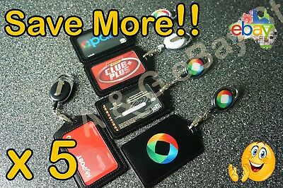 5x Opal Card Holder Retractable Lanyard ID Badge Vertical Business Pass Security