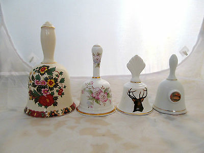 collectible old lot of 4 porcelain bells, 3 from U.K. , 1 from Australia.