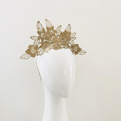 Gold lace crown/ fascinator: races, special events