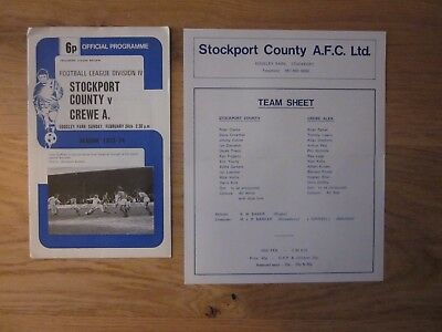 STOCKPORT COUNTY v CREWE Division 4 1973-74 Programme & Team Sheet - Sunday game