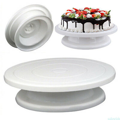 DIY White Cake Turntable Rotating Revolving Cake Decorating Stand Baking Tool L4