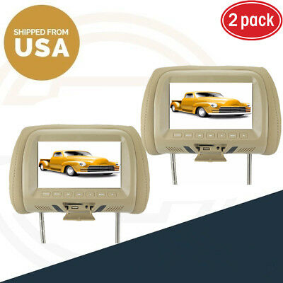 """2X Replacement 7"""" HD Car Pillow Headrest Monitor MP5 Player beige Free ship"""