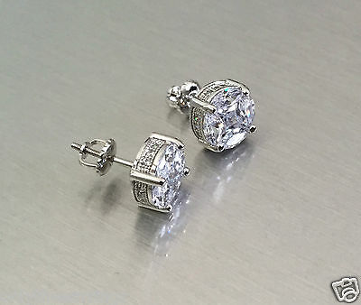 1.90 ct Diamond Screw Back Round Stud Earrings 14K White Gold VVS1 Iced Out 12mm