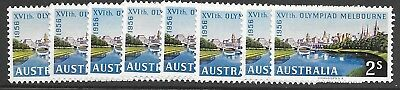 Pre-Decimal    2/- Blue  1956 Olympics   8 Stamps   Mint Hinged