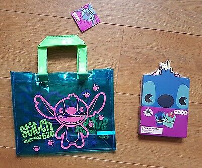 Disney Store Lilo & Stitch Pack Of 2 Journals And Stitch Thick Pvc Tote Bag New