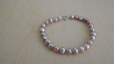 H Samuel Sterling Silver and Pink Cultured Freshwater Pearl Bracelet