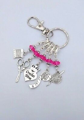 Crochet Stitch Markers Hot Pink Beads & Keyring in Organza Gift Bag