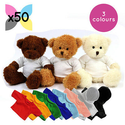 50 x BLANK JAMES TEDDY BEAR SOFT TOY WITH SUBLIMATION PRINTABLE SHIRT HOODY