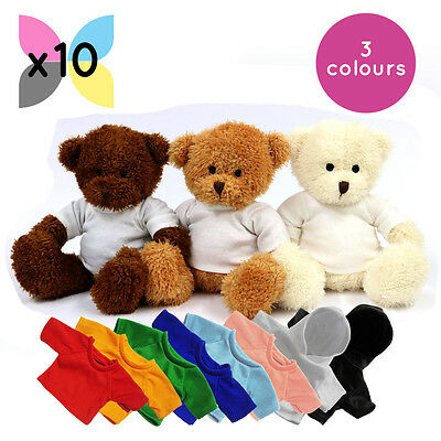 10 x BLANK JAMES TEDDY BEAR SOFT TOY WITH SUBLIMATION PRINTABLE SHIRT HOODY