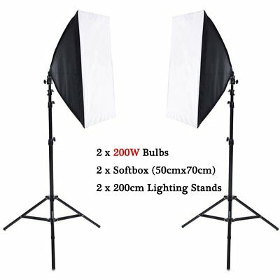 2x 200W Photography Studio Softbox Continuous Lighting Soft Box Light Stand Kit