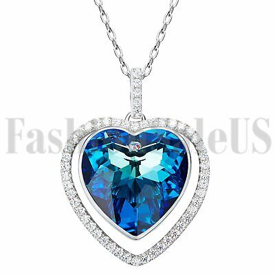 Women's 925 Silver Heart Made with Swarovski Elements Crystals Pendant Necklace
