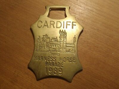 Cardiff Third Harness Horse Parade 1989 Plaque Metal
