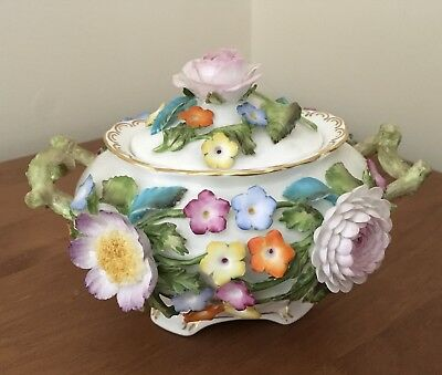 Coalport Coalbrookdale Flower Encrusted Two Handled Lidded Dish