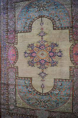 FINELY HAND KNOTTED GENUINE ANTIQUE TURKISH KAYSERI SILK PILE RUG Circa 1920