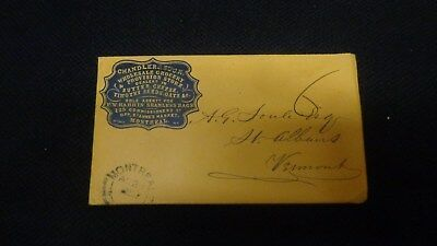 Montreal Canada Cameo stampless Cover Envelope Rouse's Point, N.Y. Postmark