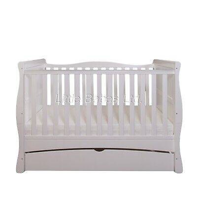 New Baby White Sleigh MASON Cot Bed With Drawer - Optional Mattress 140x70x10cm