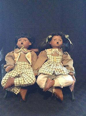 Unique Set Of 2 African American Black Porcelain Thumb Sucking Dolls W/Bench