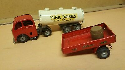 Rare Triang Minic Tinplate Truck & Trailers Toy C1950S Dairies Clockwork