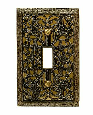 Wall Switch Plate Cover Filigree Antique Brass Outlet Toggle Decora Rocker Metal