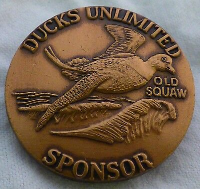 Ducks Unlimited Old Squaw Sponsor pin,  Larry Toschik bronze 1990 pinback, tac