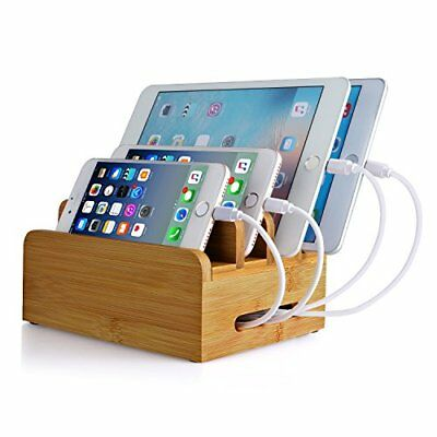 Ereach Bamboo Tabletop Charging Stand Multiple At The Same Time Charging New