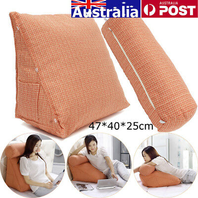 Adjustable Sofa Bed Back Wedge Rest Neck Support Cushion Fip Pillow Wool Office