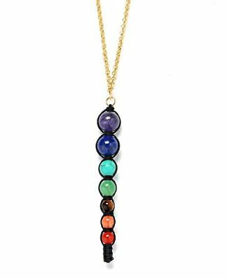 HAND MADE Chakra Braided Necklace Pendant For Women Long Chain Natural Stone
