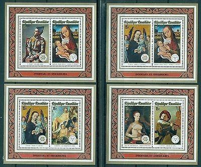 RWANDA *1974 * compl.set 6 M/Sheets MNH** Paintings-STOCKHOLMIA'74 -Mi.No BL40-5