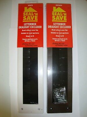 Seal N Save Letterbox Draught Excluder Brush No Flap Brown/white Door Draught