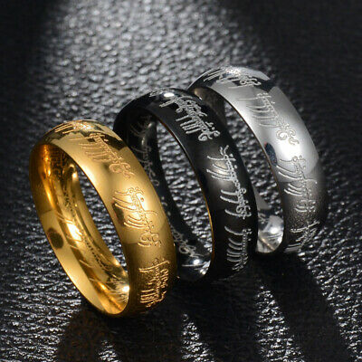 6mm Lord of the Ring Silver/Gold/Black Titanium Steel Wedding Party Band Sz 6-13