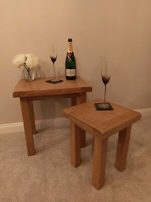 Premium Solid Oak Nest Of 2 Tables / Solid Wood Nested Tables - RRP £219!