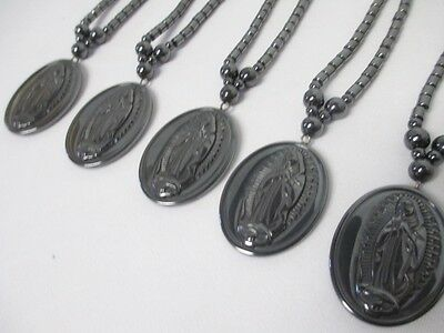 Necklaces lot of 5 Virgin Mary Blessed Mother Saint HEMATITE Pendants WHOLESALE