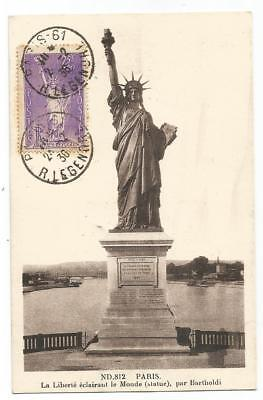 Surtaxe 75C Statue Liberte N° 309 Rousseurs Carte Maximum Paris 61 24.2.1936