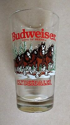 """1989 Budweiser King of Beers """"Clydesdale Christmas"""" Pint Beer Glass"""