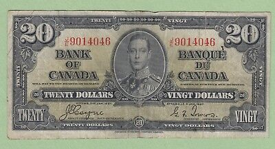 1937 Bank of Canada 20 Dollar Note - Coyne/Towers - J/E9014046 - VF