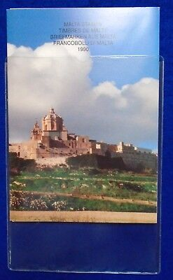 1990 Malta Post Complete Year Pack + Miniature Sheet+Card & Protective Cover MNH