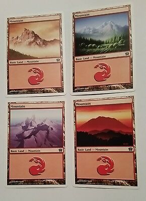 MTG 9th Edition 4 x different Basic Land - Mountain cards Magic the Gathering